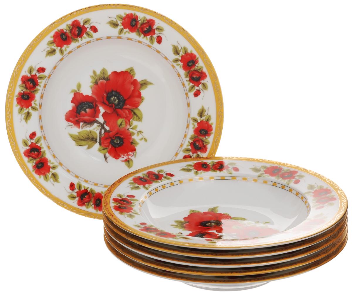 Набор суповых тарелок Elan Gallery Маки, диаметр 21,5 см, 6 шт503627Набор Elan Gallery Маки состоит из шести суповых тарелок, выполненных из высококачественной керамики. Изделия предназначены для красивой сервировки блюд и украшены цветочным рисунком. Набор сочетает в себе стильный дизайн с максимальной функциональностью. Оригинальность оформления придется по вкусу и ценителям классики, и тем, кто предпочитает утонченность и изящность. Не использовать в микроволновой печи. Диаметр тарелки (по верхнему краю): 21,5 см. Высота тарелки: 3,7 см. Объем тарелки: 370 мл.