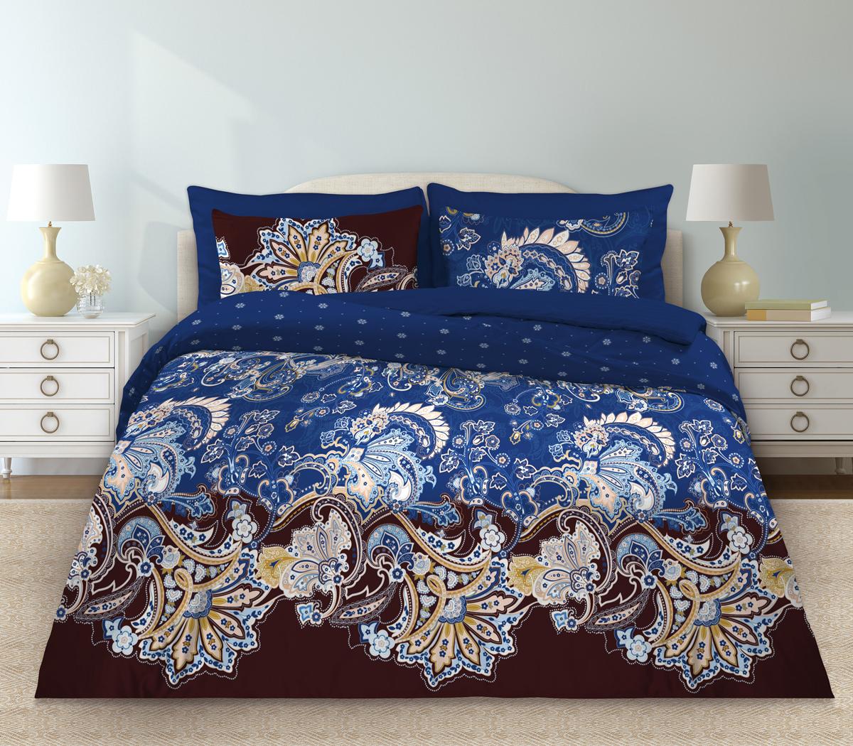 Комплект белья Любимый дом Болеро, евро, наволочки 70 х 70, цвет: синий. 331154331154Комплект постельного белья коллекции «Любимый дом» - выполнен из высококачественной ткани из 100% хлопка. Такое белье абсолютно натуральное, гипоаллергенное, соответствует строжайшим экологическим нормам безопасности, комфортное, дышащее, не нарушает естественные процессы терморегуляции, прочное, не линяет, не деформируется и не теряет своих красок даже после многочисленных стирок, а также отличается хорошей износостойкостью.