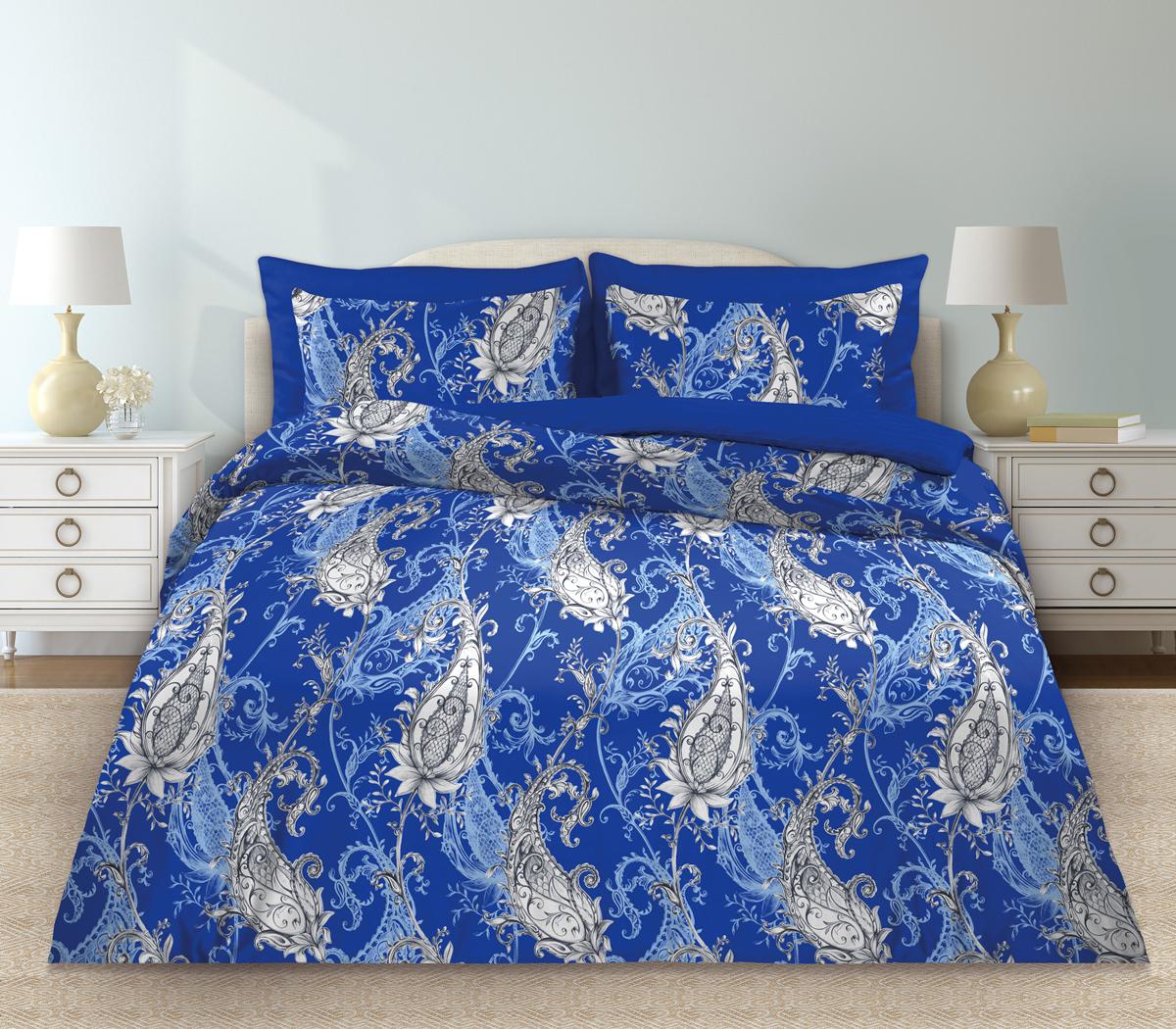 Комплект белья Любимый дом Венера, 1,5 спальное, наволочки 70 х 70, цвет: синий. 331091331091Комплект постельного белья коллекции «Любимый дом» - выполнен из высококачественной ткани из 100% хлопка. Такое белье абсолютно натуральное, гипоаллергенное, соответствует строжайшим экологическим нормам безопасности, комфортное, дышащее, не нарушает естественные процессы терморегуляции, прочное, не линяет, не деформируется и не теряет своих красок даже после многочисленных стирок, а также отличается хорошей износостойкостью.