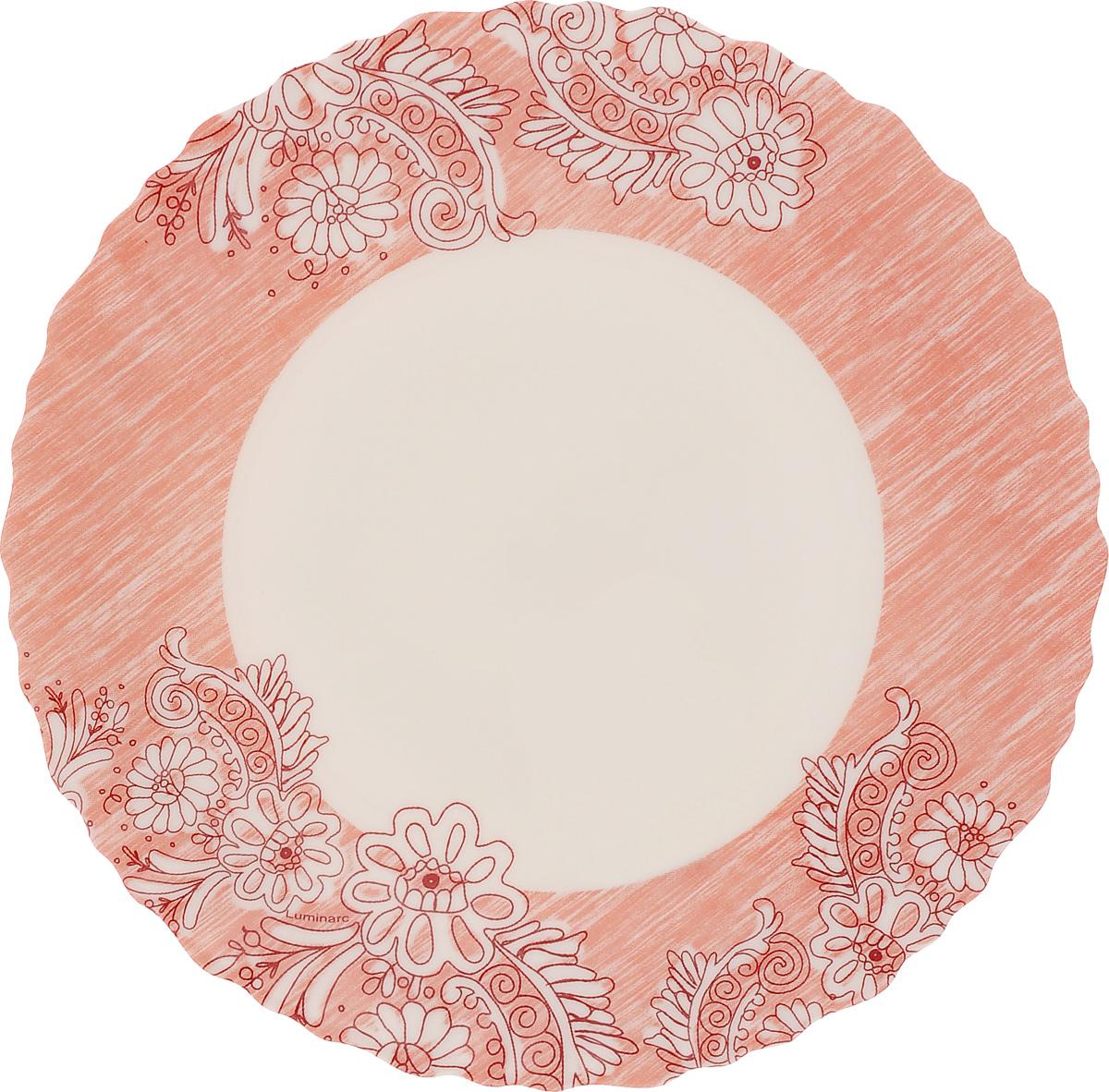 Тарелка десертная Luminarc Minelli, цвет: розовый, белый, диаметр 18,5 смJ7036Десертная тарелка Luminarc Minelli, изготовленная из ударопрочного стекла, декорирована ярким рисунком. Такая тарелка прекрасно подходит как для торжественных случаев, так и для повседневного использования. Идеальна для подачи десертов, пирожных, тортов и многого другого. Она прекрасно оформит стол и станет отличным дополнением к вашей коллекции кухонной посуды. Диаметр тарелки (по верхнему краю): 18,5 см.