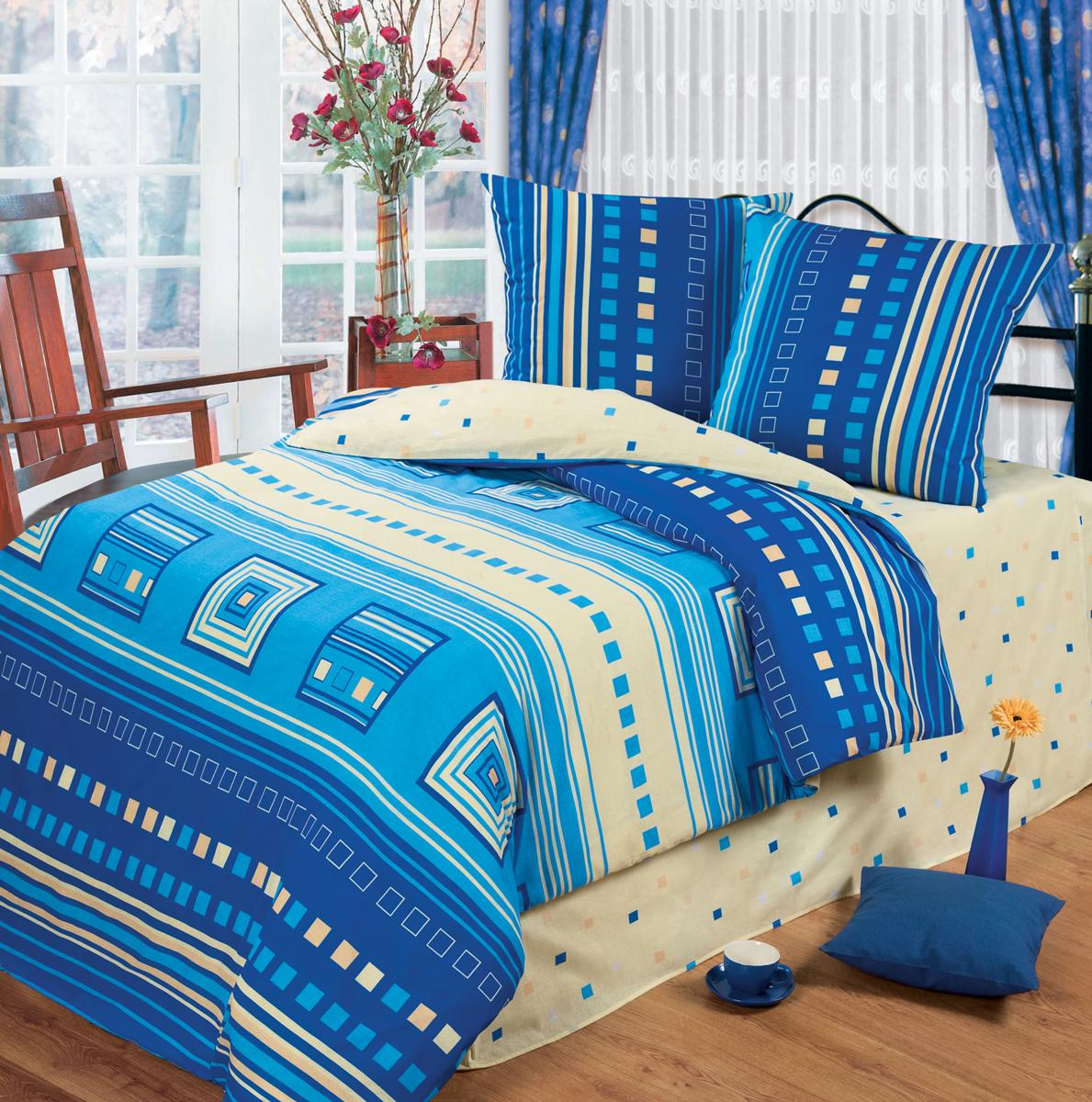 Комплект белья Любимый дом Квадро, 1,5 спальное, наволочки 70 х 70, цвет: голубой. 333650333650Постельное белье торговой марки «Любимый дом» - это идеальное сочетание доступной цены и высокого качества продукции. Серия «Любимый дом 3D» выполнена в технике объемного трехмерного изображения: объемные рисунки очень яркие, насыщенные и реалистичные. Коллекция выполнена из традиционной отечественной бязи с высоким показателем износостойкости: такое постельное белье очень прочное и долговечное, не деформируется при стирках и прослужит долгие годы.