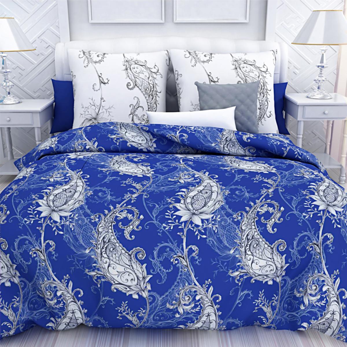Комплект белья Унисон Сапфир, семейный, наволочки 50 х 70, цвет: синий. 286311286311Постельное белье торговой марки «Унисон Биоматин» - это домашний текстиль премиум класса с эксклюзивными дизайнами в разнообразных стилистических решениях. Комплекты данной серии выполнены из ткани «биоматин» - это 100% хлопок высочайшего качества, мягкий, тонкий и легкий, но при этом прочный, долговечный и очень практичный, с повышенным показателем износостойкости, обладающий грязе- и пылеотталкивающими свойствами, долго сохраняющий чистоту и свежесть постельного белья, гипоаллергенный.