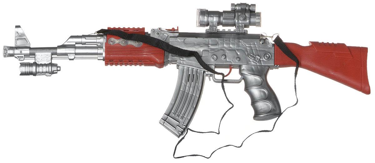 ABtoys Автомат АК-47 ARS-244ARS-244Автомат ABtoys АК-47 ARS-244 создан по образу известного автомата АК-47. Игрушка выполнена из высококачественного пластика и совершенно безвредна для здоровья детей. Вашему ребенку не придется имитировать звуки выстрелов во время игры, ведь в игрушечный автомат встроен звуковой модуль. Поэтому, при нажатии на курок, будут раздавать звуки, характерные для перестрелки. Помимо этого, в игрушку встроено множество лампочек, которые будут светиться различными цветами, пока ребенок отважно атакует врага! При стрельбе автомат вибрирует, что еще больше усиливает сходство с настоящим автоматом. Под стволом имеется имитация лазерного прицела. Автомат ABtoys АК-47 ARS-244 - это отличный подарок для детей, которые любят подвижные игры. Детское оружие поможет полностью погрузиться в вымышленный мир приключений. Для работы игрушки необходимы 3 батарейки типа АА (не входят в комплект).