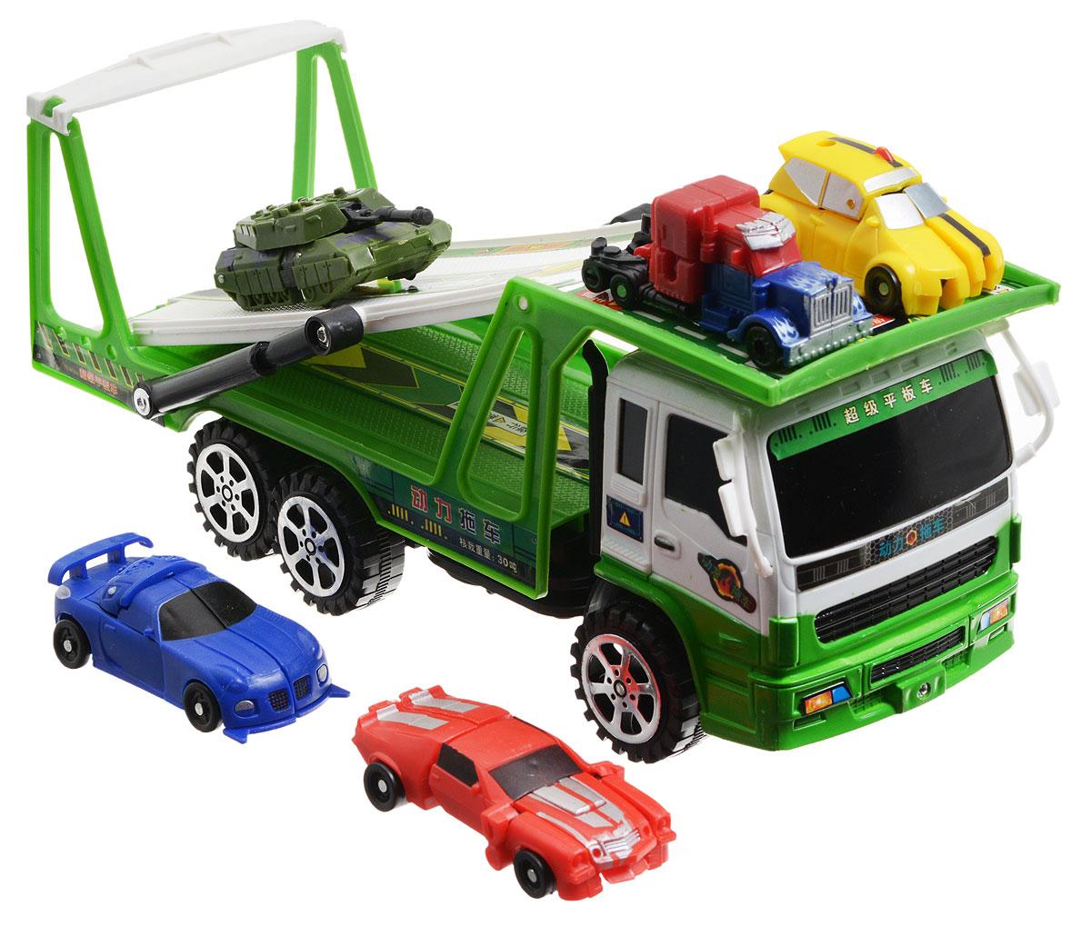 Junfa Toys Игровой набор Автовоз и 5 машинок-трансформеров цвет автовоза зеленыйHX8000BИгровой набор Junfa Toys Автовоз непременно станет любимой игрушкой вашего малыша. В набор входит автовоз и пять машинок-трансформеров разных моделей и цветов. Маленькие машинки легко трансформируются в оригинальных роботов. У автовоза наклоняется верхняя площадка и откидывается пандус, чтобы машинкам было удобнее заезжать на него. Автовоз оснащен инерционным механизмом: нужно немного подтолкнуть машинку вперед или назад, и она сама поедет в этом же направлении. Ваш ребенок будет часами играть с этим набором, придумывая различные истории. Порадуйте его таким замечательным подарком!