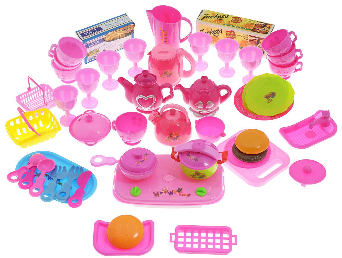 Junfa Toys Игровой набор Kitchen Food1236jИгровой набор Junfa Toys Kitchen Food обязательно понравится маленькой хозяйке. Здесь есть все для чаепития с милыми куклами и для приготовления вкусного обеда. Яркие чашечки и бокалы, фигурные столовые приборы с удобными ручками, сковороды с крышками, различные чайники и еще много незаменимых аксессуаров для игры. Набор содержит: 5 элементов плиты и мойки, графин с крышкой, 7 чашек, 2 коробочки чипсов, 7 бокалов, 4 чайника с крышками, 2 ложки, 2 вилки, 2 ножа, 2 кусочка хлеба, котлету, 4 тарелки, поднос, 2 миски, 2 корзинки, 2 сковороды с крышками, кастрюлю с крышкой. Элементы набора изготовлены из прочного безопасного пластика. Посуда упакована в нарядную пластиковую сумку с молнией и лямкой для переноски. Порадуйте свою малышку таким замечательным подарком!