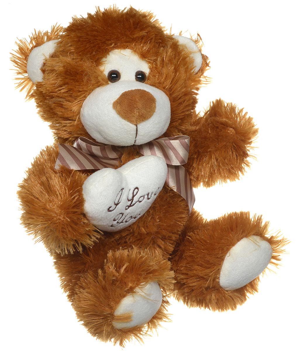 Button Blue Мягкая игрушка Мишка с сердцем цвет коричневый 25 см40-JY-3577/25_коричневыйЧудесная мягкая игрушка Button Blue Мишка с сердцем, выполненная в виде милого медведя, вызовет радость как у взрослого, так и у ребенка. Мишка изготовлен из полиакрила и модакрила с набивкой из синтепона. Глазки игрушки пластиковые; вокруг шеи повязан бант, а в правой лапке медведь держит сердечко с вышитой надписью I Love You. Удивительно приятная на ощупь, игрушка подарит своему обладателю мгновения нежности и приятных воспоминаний. Такая игрушка станет чудесным подарком к любому празднику.