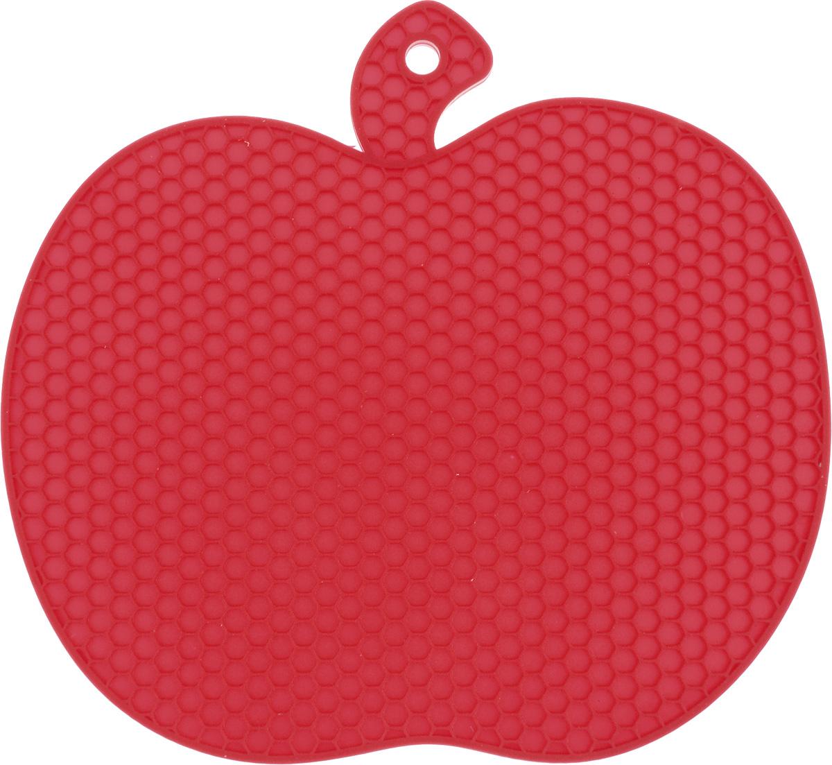 Подставка под горячее Marmiton Яблоко, силиконовая, цвет: красный, 19 х 18 см12134Подставка под горячее Marmiton Яблоко изготовлена из силикона, что позволяет ей выдерживать высокие температуры и не царапать поверхность стола. Силикон устойчив к фруктовым кислотам, обладает естественным антипригарным свойством. Такая подставка придется по вкусу человеку, ценящему практичные и оригинальные вещи. Можно мыть в посудомоечной машине.