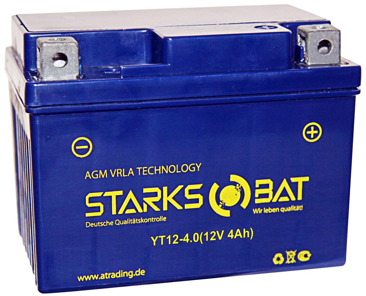 Батарея аккумуляторная для мотоциклов Starksbat. YT12-4,0 (YB4L-B)YT 12-4.0YT12-4,0 (YB4L-B, YT4L-BS, YTX4L-BS) Аккумуляторы для мотоциклов STARKSBAT производятся немецким концерном Active Trading GmbH. Аккумуляторы STARKSBAT изготовлены по технологии AGM, обеспечивающей повышенный уровень безопасности батареи и удобство ее эксплуатации. Корпус АКБ STARKSBAT выполнен из особо ударопрочного и морозостойкого полипропилена. Аккумуляторы STARKSBAT длительное время успешно продаются в США и Канаде, где блестяще доказали свои высокие эксплуатационные свойства в самых экстремальных условиях бездорожья, высоких и низких температур. Аккумуляторные батареи STARKSBAT производятся под знаменитым Немецким контролем качества, что обеспечивает им высокие пусковые характеристики и восстановление емкости даже после глубокого разряда. YT 12-4.0 (YB4L-B, YT4L-BS, YTX4L-BS) Параметры аккумулятора: Напряжение (В): 12 Емкость (А/Ч): 4 Размеры (мм): 113х70х89 Полярность: Обратная (- +) Ток холодной прокрутки: 60 Аh (EN) Корпус АКБ STARKSBAT выполнен из особо...
