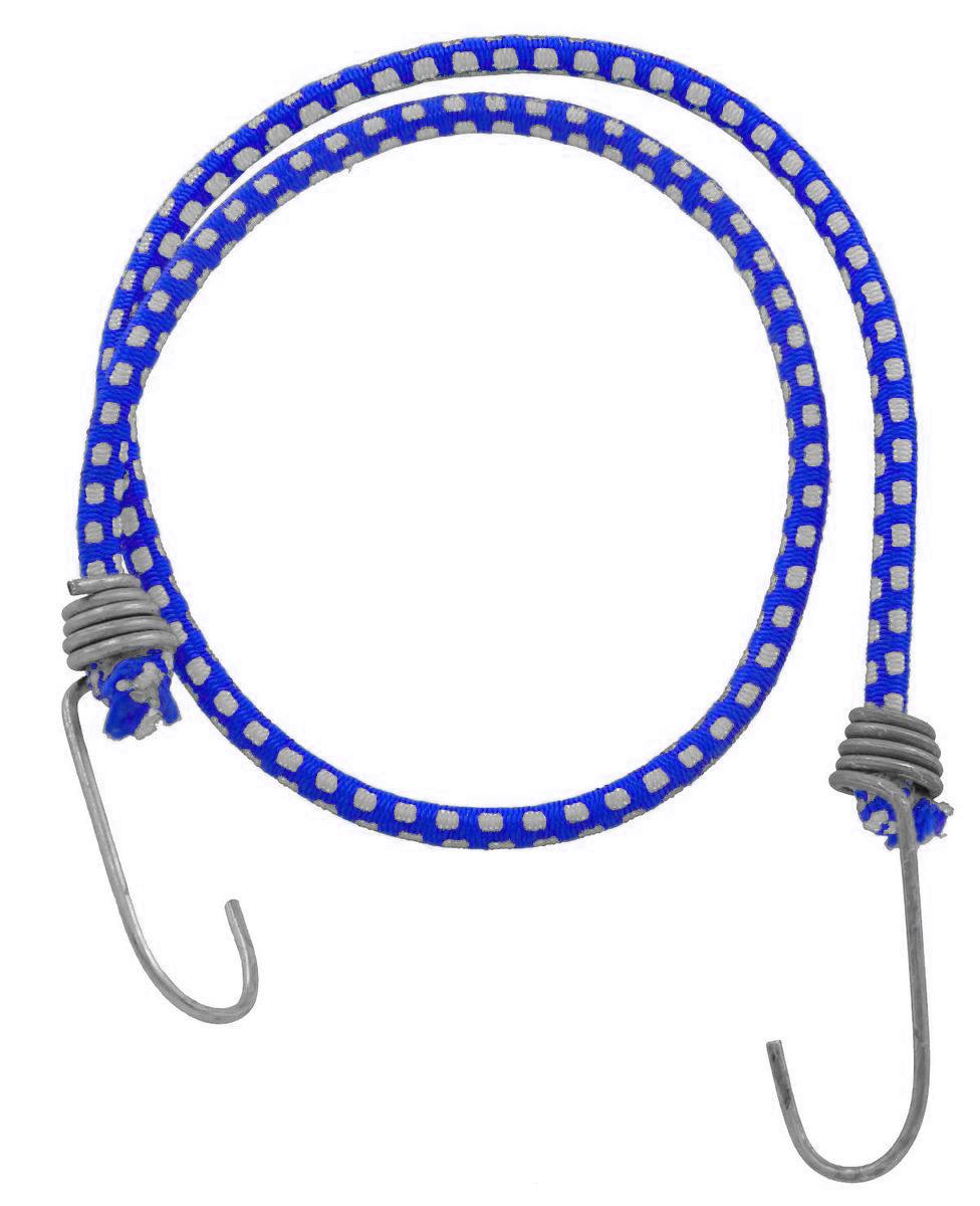 Резинка багажная МастерПроф, с крючками, цвет: синий, белый, 0,6 х 110 см. АС.020052АС.020052_синийБагажная резинка МастерПроф, выполненная из натурального каучука, оснащена специальными металлическими крюками, которые обеспечивают прочное крепление и не допускают смещения груза во время его перевозки. Изделие применяется для закрепления предметов к багажнику. Такая резинка позволит зафиксировать как небольшой груз, так и довольно габаритный. Температура использования: -50°C до +50°C. Безопасное удлинение: 125%. Диаметр резинки: 0,6 см. Длина резинки: 110 см.