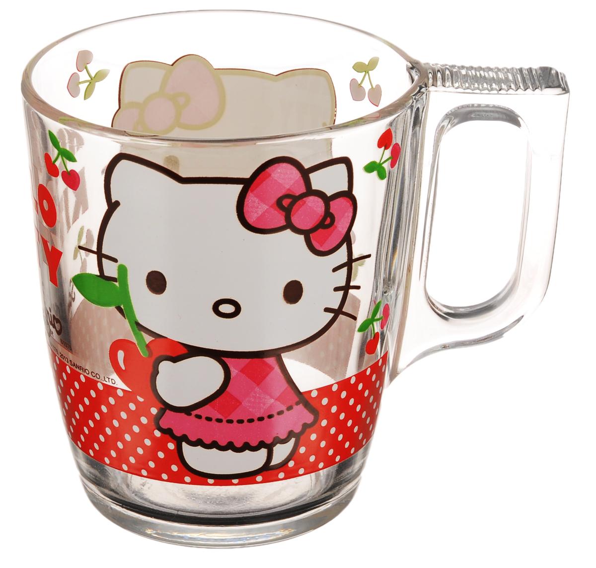 Кружка Luminarc Hello Kitty Cherries, 250 млJ0026Кружка Luminarc Hello Kitty Cherries изготовлена из ударопрочного стекла. Такая кружка прекрасно подойдет для горячих и холодных напитков. Она дополнит коллекцию вашей кухонной посуды и будет служить долгие годы. Диаметр кружки (по верхнему краю): 7,5 см. Высота кружки: 9,4 см.