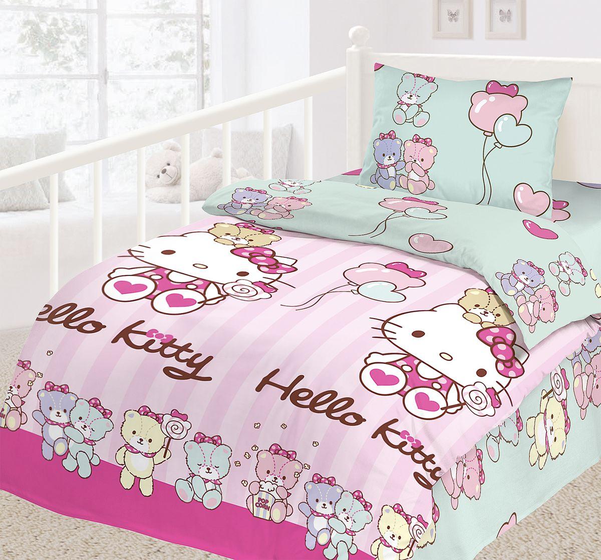 Комплект детского постельного белья Hello Kitty, цвет: розовый, голубой, 3 предмета180089Детский комплект постельного белья Hello Kitty состоит из наволочки, пододеяльника и простыни. Такой комплект идеально подойдет для кровати вашего ребенка и обеспечит ему здоровый сон. Он изготовлен из ранфорса (100% хлопок), дарящего малышу непревзойденную мягкость. Натуральный материал не раздражает даже самую нежную и чувствительную кожу ребенка, обеспечивая ему наибольший комфорт. Приятный рисунок комплекта подарит вашему ребенку встречу с любимыми героями полюбившегося мультфильма и порадует яркостью и красочностью дизайна.