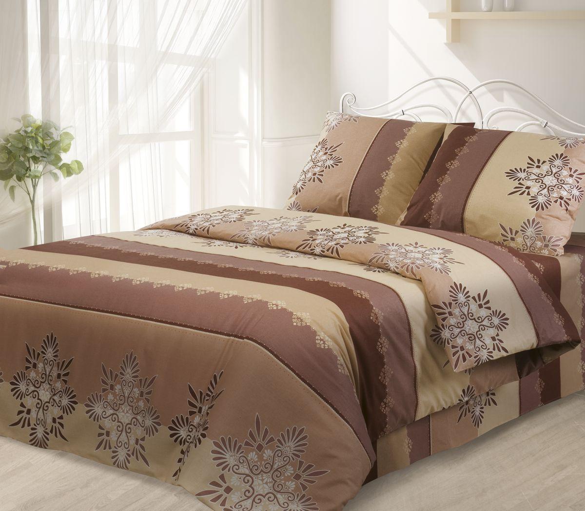 Комплект белья Гармония, 1,5-спальный, наволочки 50х70, цвет: коричневый190820Комплект постельного белья Гармония является экологически безопасным, так как выполнен из поплина (100% хлопка). Комплект состоит из пододеяльника, простыни и двух наволочек. Постельное белье оформлено красивым орнаментом и имеет изысканный внешний вид. Постельное белье Гармония - лучший выбор для современной хозяйки! Его отличают демократичная цена и отличное качество. Поплин мягкий и приятный на ощупь. Кроме того, эта ткань не требует особого ухода, легко стирается и прекрасно держит форму. Высококачественные красители, которые используются при производстве постельного белья, сохраняют свой цвет даже после многочисленных стирок.