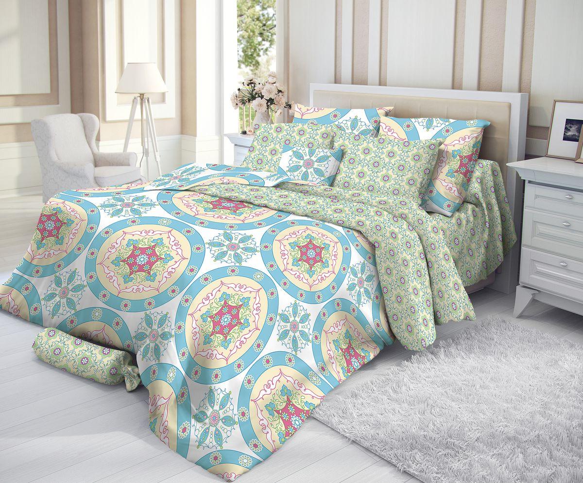 Комплект белья Verossa, 2-спальный, наволочки 50х70, цвет: голубой193778Сатин - настоящая роскошь для любителей понежиться в постели. Вас манит его блеск, завораживает гладкость, ласкает мягкость, и каждая минута с ним - истинное наслаждение. Тонкая пряжа и атласное переплетение нитей обеспечивают сатину мягкость и деликатность. Легкий блеск сатина делает дизайны живыми и переливающимися. 100% хлопок, не электризуется и отлично пропускает воздух, ткань дышит. Легко стирается и практически не требует глажения. Не линяет, не изменяет вид после многочисленных стирок.