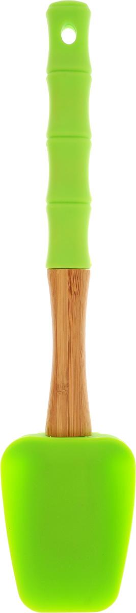Лопатка кулинарная Mayer & Boch, цвет: салатовый, длина 29 см23163_салатовыйКулинарная лопатка Mayer & Boch изготовлена из экологически чистого материала - бамбука, обладающего уникальной текстурой. Элегантная ручка оснащена силиконовой вставкой, что дает возможность удобно и комфортно пользоваться лопаткой. Рабочая поверхность лопатки выполнена из жароупорного силикона, который выдерживает температуру до + 230°С. Кулинарная лопатка Mayer & Boch - это практичный и необходимый подарок любой хозяйке! Размер рабочей поверхности: 8,5 х 6,5 х 1,5 см. Общая длина лопатки: 29 см.