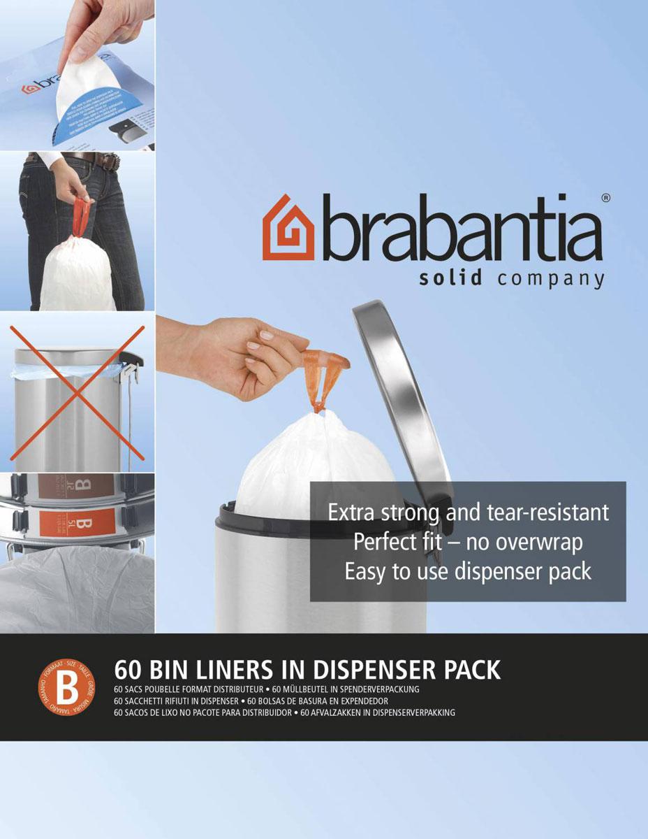 Пакеты для мусора Brabantia, 5 л, 60 шт348969Одноразовые пакеты Brabantia, выполненные из прочного полиэтилена, предназначены для мусорного бака. Особенности: Простая и удобная в использовании плоская упаковка-дозатор с большим отверстием. Легко вытащить новый мешок, так как они не связаны друг с другом, как в рулонах. Затяжная лента позволяет быстро и легко сменить пакет для мусора: просто потяните за ленту, она аккуратно запечатает горловину мешка и превратится в крепкие ручки. Размер мешка: 33 см х 34 см.
