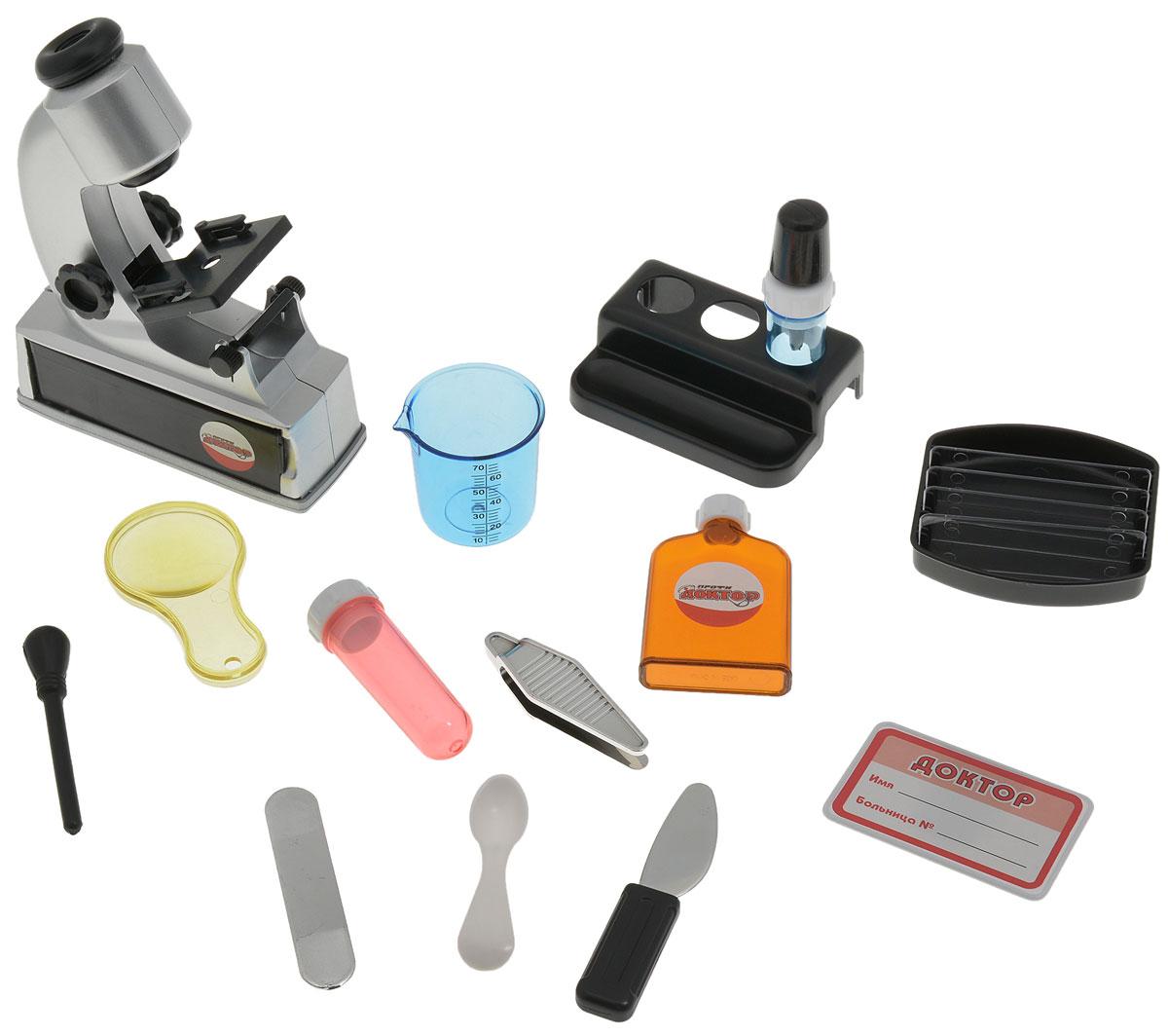 1TOY Игровой набор Доктор с микроскопомТ50173_вар.21TOY Игровой набор Доктор станет отличным подарком для маленького врачевателя! В этом наборе есть всё, чтобы почувствовать себя настоящим доктором! Малыш с удовольствием будет лечить свои игрушки. В наборе 14 предметов: микроскоп, увеличительное стекло, пинцет, шпатель, бутылочка под микстуру, мерный стаканчик, флакон с пипеткой, лоток под рецепты, пробирка, стойка под пробирки, ложечка, скальпель, бейджик и молоточек. Теперь все игрушки будут совершенно здоровы! Игровой набор Доктор несет в себе не только развлекательную, но и познавательную функцию, разовьет мышление и фантазию.
