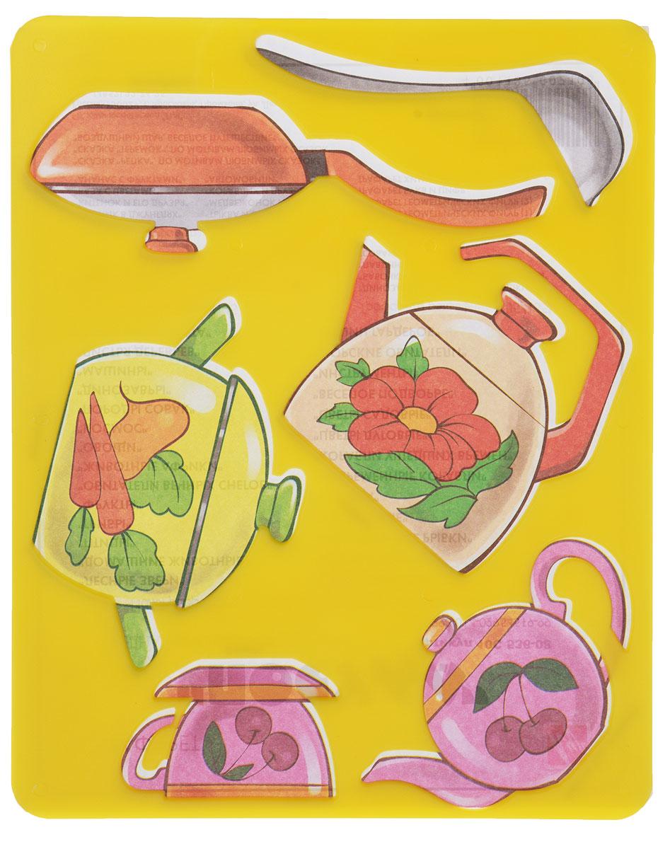 Луч Трафарет прорезной Посуда со сковородой цвет желтый10С 536-08_набор 2, желтыйПрорезной трафарет Луч Посуда, выполненный из безопасного пластика, предназначен для детского творчества. По трафарету маленькие художники смогут нарисовать сковородку, заварочный и простой чайник, чашку с блюдцем, кастрюлю и половник. Для этого необходимо положить трафарет на лист бумаги, обвести фигуру по контуру и раскрасить по своему вкусу или глядя на цветную картинку-образец. Трафареты предназначены для развития у детей мелкой моторики и зрительно-двигательной координации, навыков художественной композиции и зрительного восприятия.