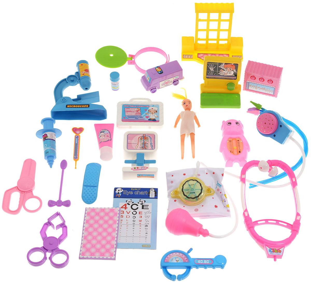 Junfa Toys Игровой набор Family Doctor мальчик3812A_мальчикИгровой набор Junfa Toys Family Doctor в специальном пластмассовом чемоданчике станет отличным подарком для юного медика. Набор даст возможность ребенку почувствовать себя настоящим врачом. В наборе множество различных инструментов, без которых лечение больных будет невозможно. Малыш найдет в своем медицинском сундучке зажим, зеркало ЛОРа, фонендоскоп, микроскоп, планшет, таблицу для проверки зрения и многое-многое другое. В набор также входит маленькая куколка. Куколке нужна срочная помощь! Вылечи куклу и все свои игрушки с помощью этого чудесного набора.