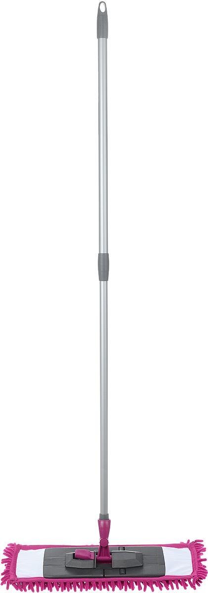 Швабра Мир чистоты Синель, c телескопической ручкой, цвет: фуксия, длина 70-120 смST008-EZ005-KT003Швабра Мир чистоты Синель с насадкой из микрофибры широко используется для сухой и влажной уборки любых напольных поверхностей. Благодаря уникальным свойствам микрофибры сухая насадка легко удаляет пыль и в три раза лучше впитывает влагу, чем обычный хлопок. Подошва швабры складывается, что позволяет легко снять насадку. Изделие оснащено удобной телескопической ручкой, с помощью которой вы сможете регулировать длину швабры. Швабра Мир чистоты Синель со складывающейся подошвой - лучший помощник в доме! Длина швабры: 70-120 см. Размер насадки: 45 х 13 х 1,5 см.