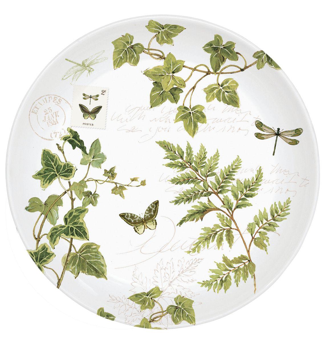Тарелка десертная Nuova R2S Зеленый плющ, диаметр 19 см324IVIE