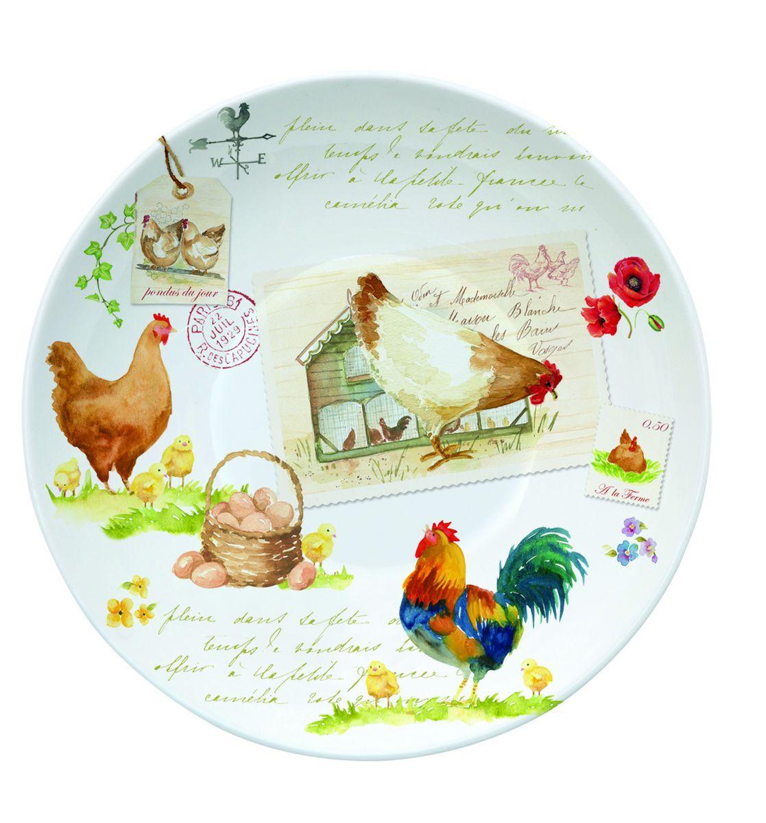 Блюдце Nuova R2S Петух и курица, диаметр 10 см338CTLIБлюдце Nuova R2S Петух и курица выполнено из высококачественного фарфора. Изделие оформлено оригинальным рисунком. Изящное блюдце не только красиво оформит стол к чаепитию, но и станет прекрасным подарком друзьям и близким. Диаметр блюдца: 10 см.