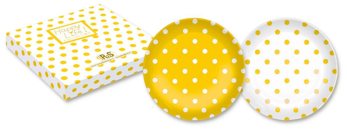 Набор десертных тарелок Nuova R2S Горошек, цвет: желтый, белый, диаметр 21 см, 2 шт370POIYНабор Nuova R2S Горошек состоит из двух десертных тарелок, выполненных из высококачественного фарфора. Изделия декорированы оригинальным принтом в горошек. Тарелки имеют круглую форму. Такой набор изящно украсит сервировку стола и порадует вас изящным дизайном. Диаметр (по верхнему краю): 21 см.