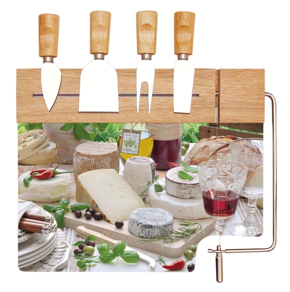 Набор для сыра Nuova R2S: разделочная доска , стекло с элементами дерева, 4 ножа513ILC
