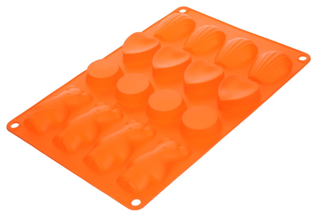 Форма для выпечки Taller, цвет: оранжевый, 16 ячеекTR-6213_оранжевыйФорма для выпечки Taller изготовлена из высококачественного силикона. Изделия из силикона очень удобны в использовании: пища в них не пригорает и не прилипает к стенкам, форма легко моется. Приготовленное блюдо можно очень просто вытащить, просто перевернув форму, при этом внешний вид блюда не нарушится. Изделие обладает эластичными свойствами: складывается без изломов, восстанавливает свою первоначальную форму. Форма содержит 16 разных ячеек. Порадуйте своих родных и близких любимой выпечкой в необычном исполнении. Подходит для приготовления в микроволновой печи и духовом шкафу при нагревании до +220°С, для замораживания до -20°С. Можно мыть в посудомоечной машине. Размер формы: 30 х 18,5 см. Средний размер ячейки: 7,5 х 4 см. Высота стенок: 1,5 см. Количество ячеек: 16 шт.
