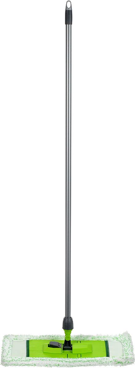 Швабра Мир чистоты Универсальная, с прорезиненной ручкой, цвет: салатовый, длина 118 смEK025Швабра Мир чистоты Универсальная с насадкой из микрофибры широко используется для сухой и влажной уборки любых напольных поверхностей. Благодаря уникальным свойствам микрофибры сухая насадка легко удаляет пыль и в три раза лучше впитывает влагу, чем обычный хлопок. Подошва швабры складывается, что позволяет легко снять насадку. Прорезиненная алюминиевая ручка удобно и надежно будет лежать в руке. Швабра Мир чистоты Универсальная со складывающейся подошвой - лучший помощник в доме! Длина швабры: 118 см. Размер насадки: 49 х 15 х 2 см.