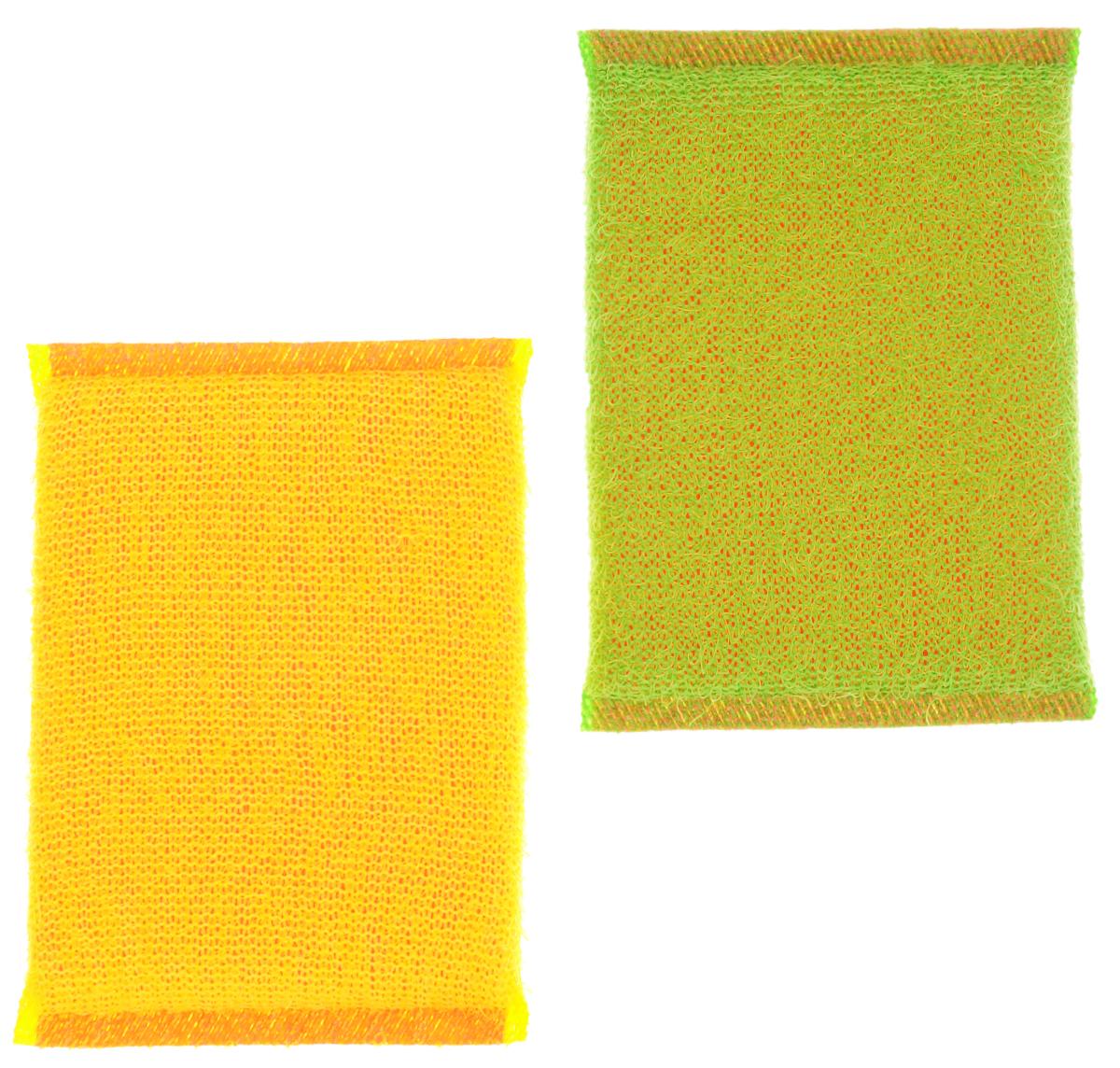 Губка для мытья посуды Хозяюшка Мила Кактус, цвет: желтый, зеленый, 2 шт01008-100_желтый, зеленыйНабор Хозяюшка Мила Кактус состоит из 2 губок, изготовленных из поролона. Они предназначены для интенсивной чистки и удаления сильных загрязнений с посуды (противни, решетки-гриль, кастрюли). Не рекомендуется использовать для посуды с антипригарным покрытием. Губки сохраняют чистоту и свежесть даже после многократного применения, а их эргономичная форма удобна для руки. Размер губки: 12 см х 2 см х 8 см.