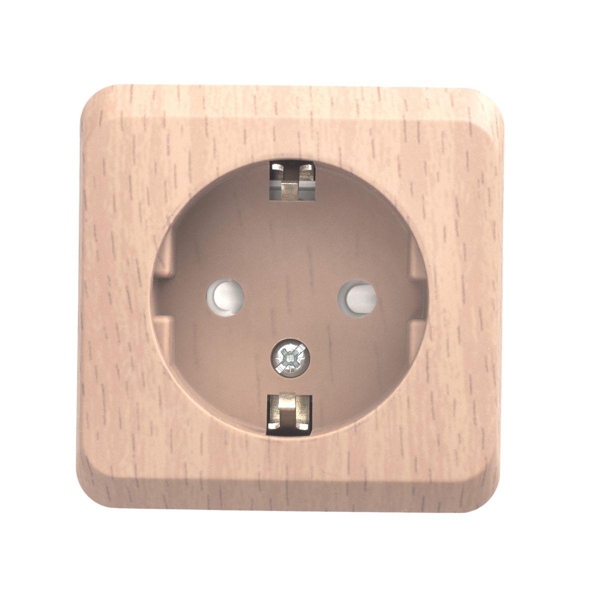 Розетка одинарная Schneider Electric Этюд, с заземлением, со шторками, цвет: сосна. PA16-004DPA16-004DОдинарная розетка Schneider Electric Этюд с заземляющим контактом, со шторками, открытой установки.
