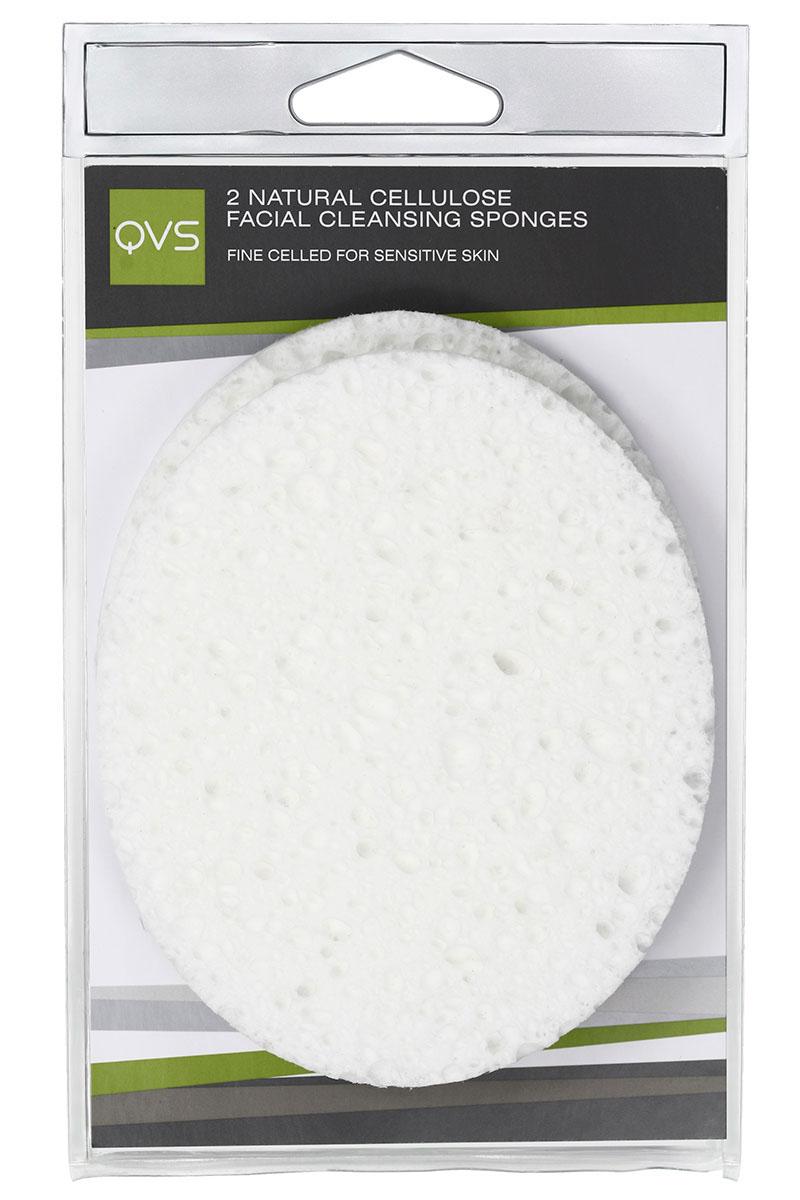 QVS Очищающие спонжи для лица из натуральной целлюлозы, овальные, 2 шт