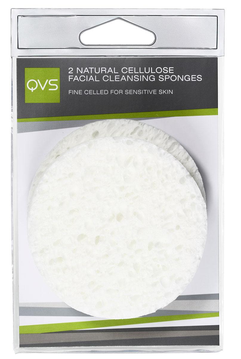 QVS Очищающие спонжи для лица из натуральной целлюлозы, круглые, 2 шт10-1067Очищающие спонжи для лица из натуральной целлюлозы, круглые
