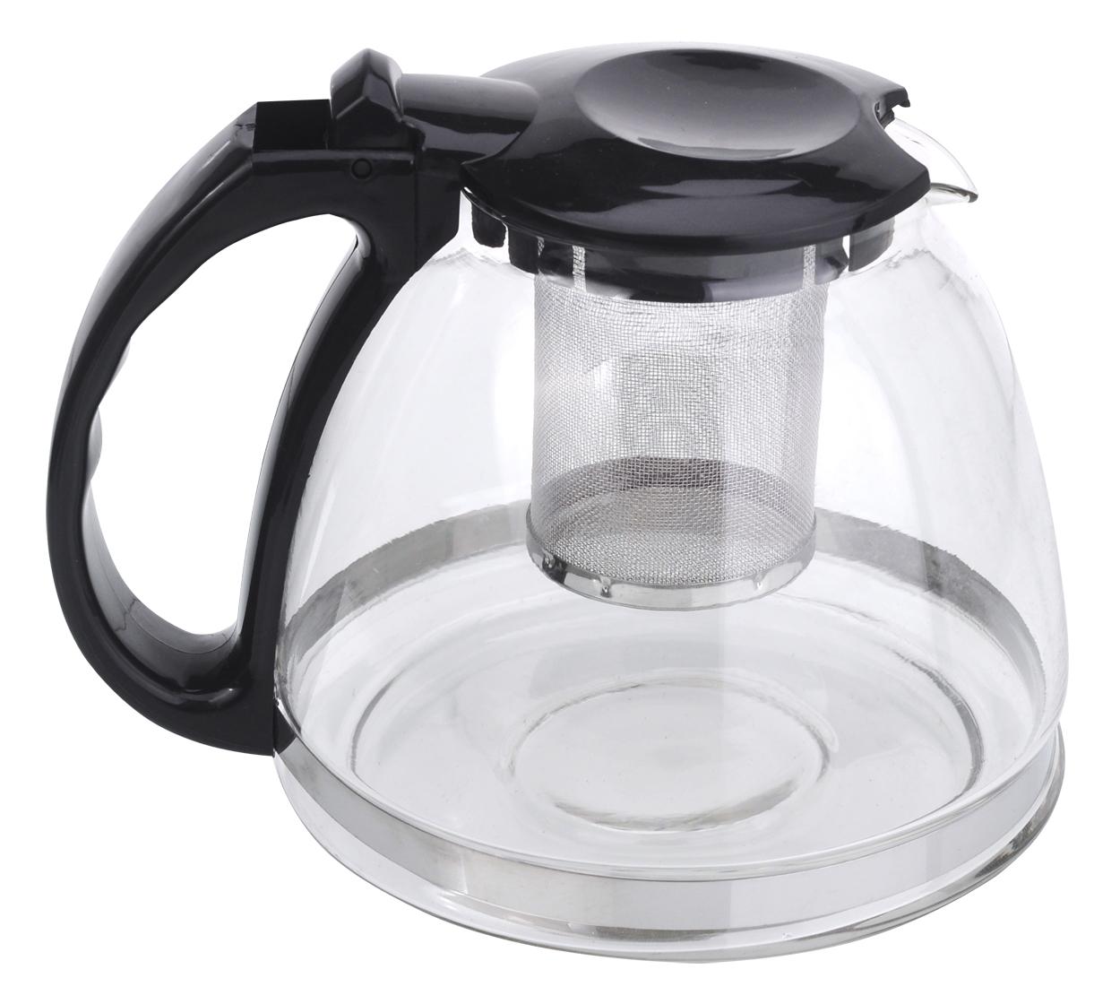 Чайник заварочный МФК-профит, стеклянный, цвет: черный, 1300 мл8130
