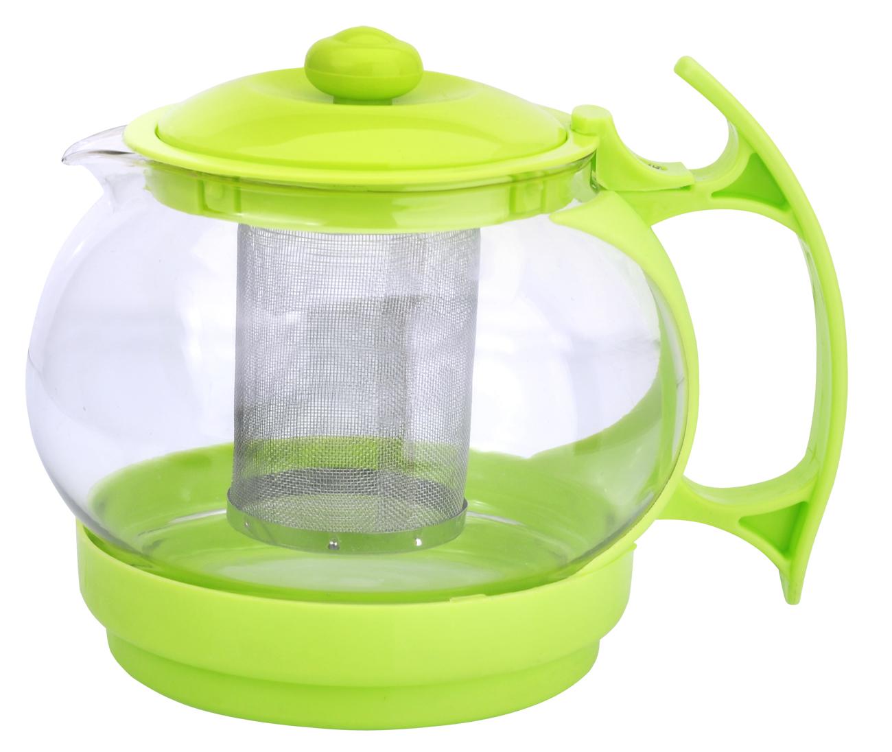 Чайник заварочный МФК-профит, стеклянный, цвет: зеленый, 1100 мл827