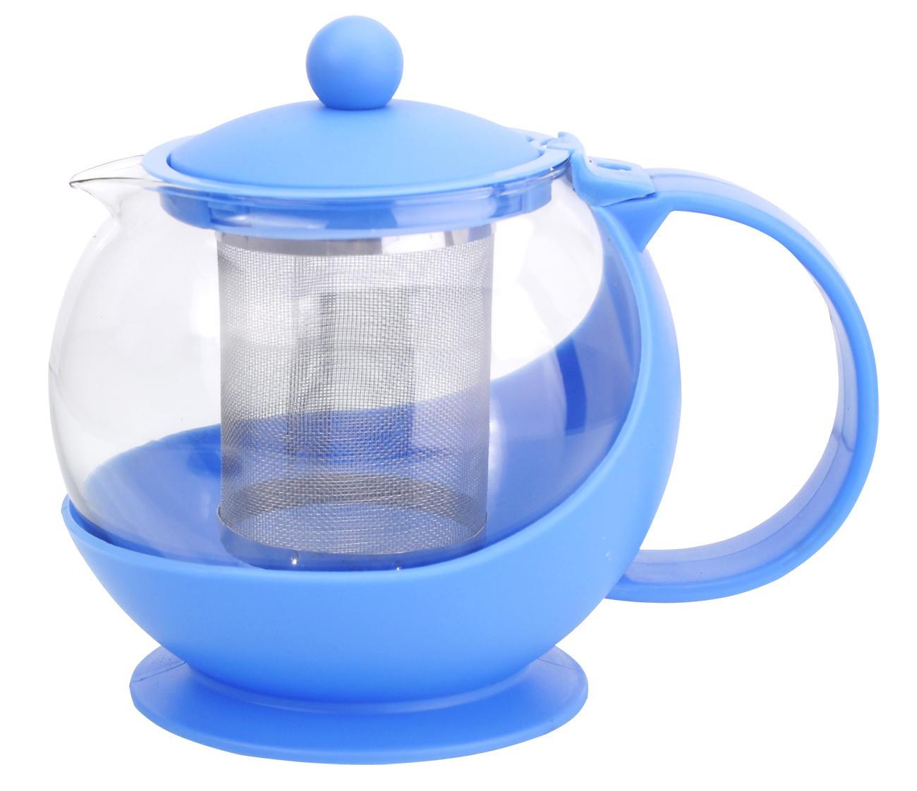 Чайник заварочный МФК-профит, стеклянный, цвет: голубой, 750 млA108