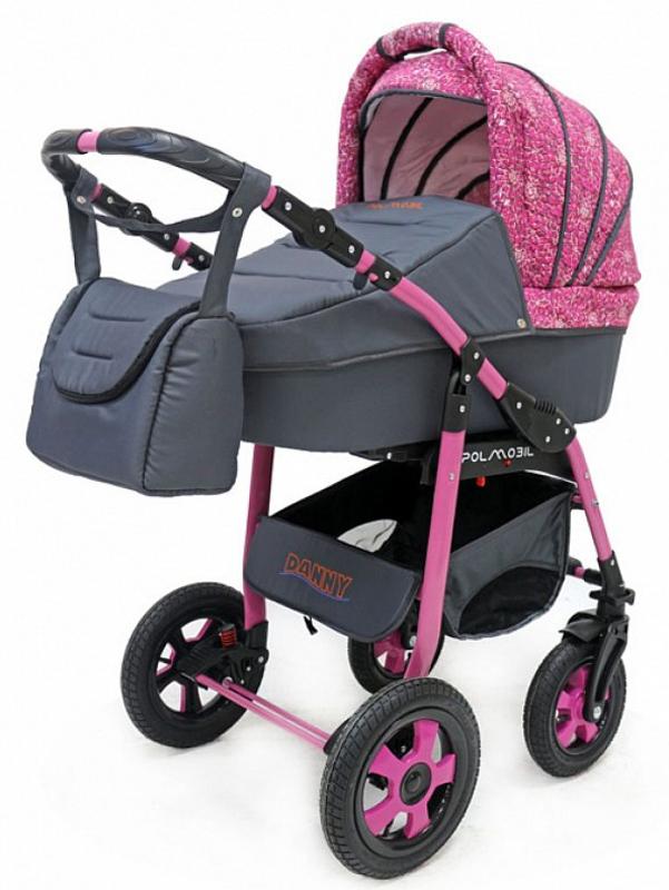 Polmobil Коляска универсальная 2 в 1 Danny цвет графитовый розовый5902232150131Универсальная детская коляска DANNY 2в1 от Польского производителя Polmobil предназначена для детей с рождения и до 3-х лет. В комплект коляски входит спальная люлька для новорожденного и прогулочный блок для подросшего малыша, которые можно устанавливать по ходу движения или против хода движения. Люлька коляски комфортная и удобная, сделана внутри из 100 % хлопка. Дно люльки – жесткое, это очень важно для правильного формирования позвоночника новорожденного малыша. Прогулочное сидение легко устанавливается на раму, имеет пятиточечные ремни безопасности, съемный бампер, регулируемое положение спинки. Для удобства родителей предусмотрены регулировка высоты ручки, корзина для покупок и сумка для мамы. Колеса надувные, камерные, с современной системой амортизации. Передние поворотные колеса с фиксатором делают эту модель коляски маневренной и легкоуправляемой. Задние колеса обеспечивают хорошую проходимость и позволяют преодолевать любые препятствия по бездорожью на прогулке. Ширина...