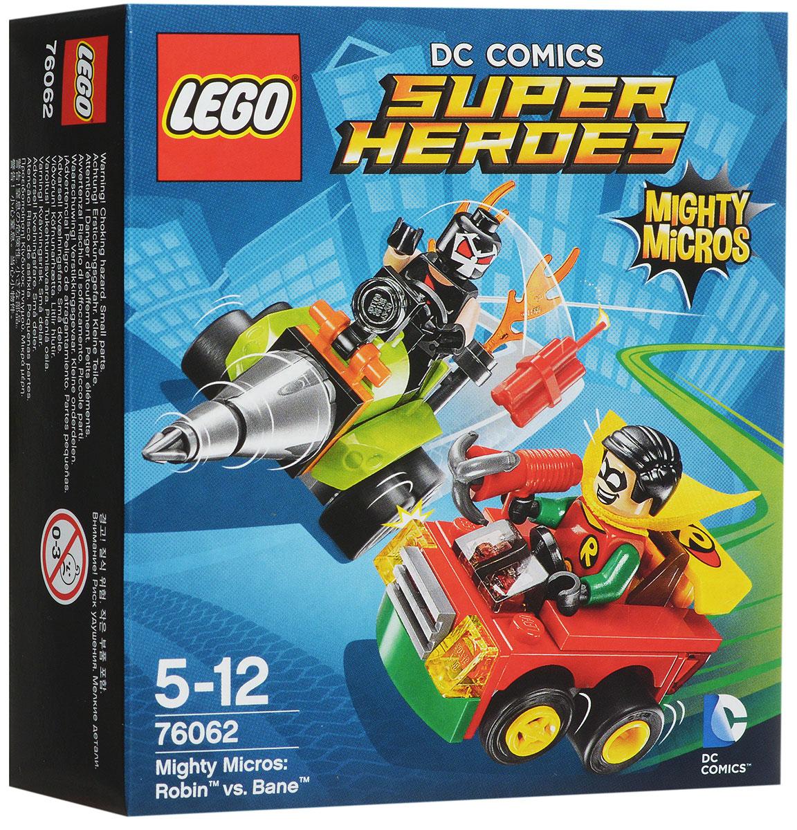 LEGO Super Heroes Конструктор Робин против Бэйна 7606276062Бэйн пробурил дыру в земле и швыряет динамит в машину Робина. Подъезжайте на высокой скорости прямиком к буровой установке Бэйна и направляйте ружье Робина на злодея! Набор включает в себя 77 разноцветных пластиковых элементов. Конструктор станет замечательным сюрпризом вашему ребенку, который будет способствовать развитию мелкой моторики рук, внимательности, усидчивости и мышления. Играя с конструктором, ребенок научится собирать детали по образцу, проводить время с пользой и удовольствием.