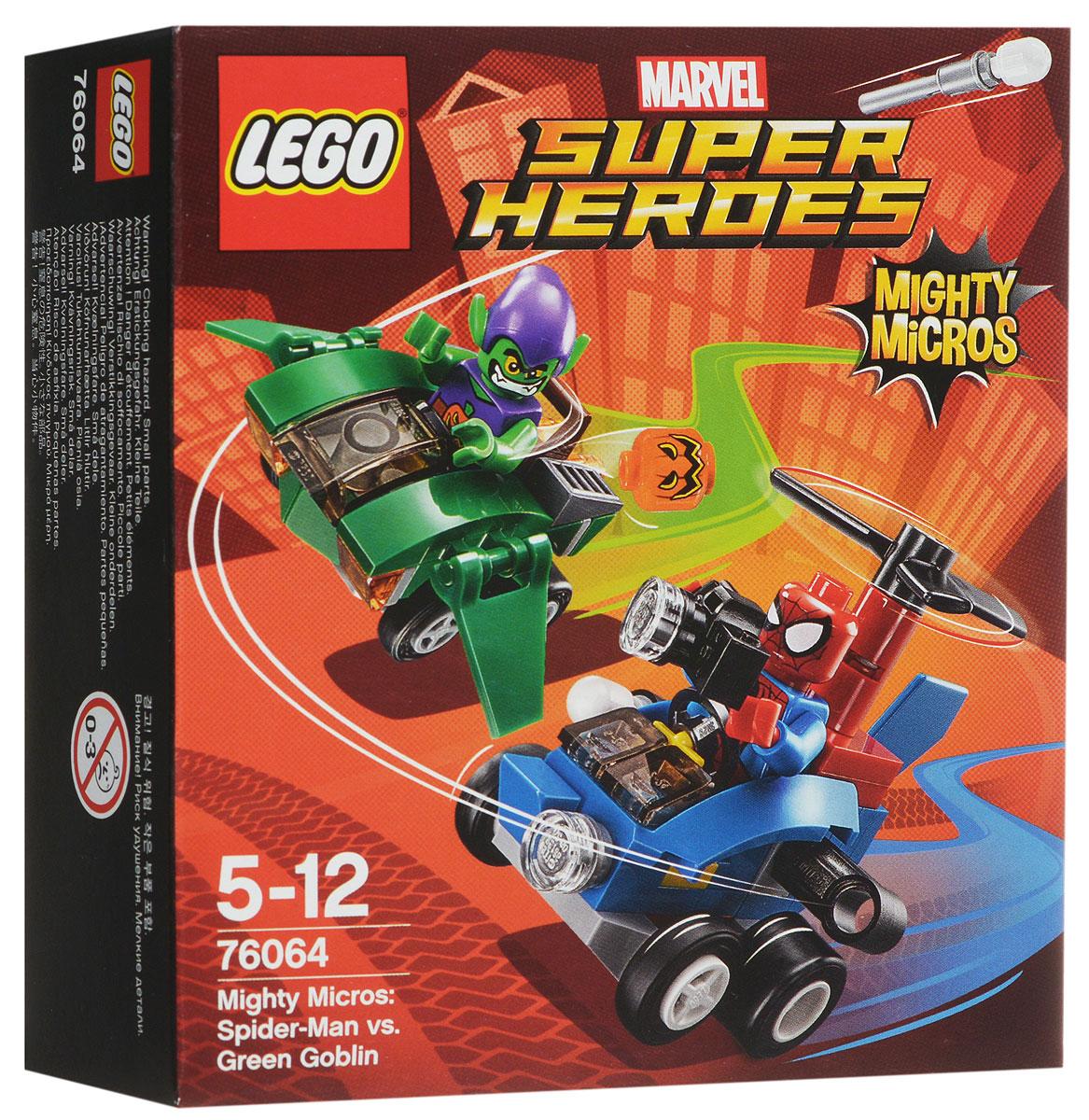 LEGO Super Heroes Конструктор Человек-паук против Зеленого Гоблина 7606476064Скиньте ракету с вертолета Человека-паука и сделайте вид, что фотографируетесь на его фотоаппарат. Но будьте осторожны - Зеленый Гоблин кидает свою тыквенную бомбу! Если Зеленый Гоблин раскроет свои планерные крылья, запускайте винты и продолжайте погоню в небе! Набор включает в себя 85 разноцветных пластиковых элементов. Конструктор - это один из самых увлекательных и веселых способов времяпрепровождения. Ребенок сможет часами играть с конструктором, придумывая различные ситуации и истории.
