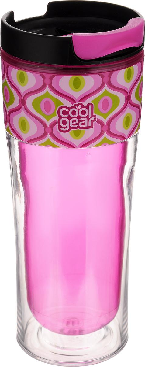 Кружка дорожная Cool Gear Razor. Орнамент для горячих напитков, цвет: розовый, черный, 420 мл. 12831283_розовыйДорожная кружка Cool Gear Razor. Орнамент изготовлена из высококачественного BPA- free пластика, не содержащего токсичных веществ. Двойные стенки дольше сохраняют напиток горячим и не обжигают руки. Надежная закручивающаяся крышка с защитой от проливания обеспечит дополнительную безопасность. Крышка оснащена клапаном для питья. Оптимальный объем позволит взять с собой большую порцию горячего кофе или чая. Идеально подходит для холодных напитков. Оригинальный дизайн, яркие, жизнерадостные цвета и эргономичная форма превращают кружку в стильный и функциональный аксессуар. Кружка идеальна для ежедневного использования. Она станет вашим неотъемлемым спутником в длительных поездках или занятиях зимними видами спорта. Не рекомендуется использовать в микроволновой печи и мыть в посудомоечной машине. Диаметр кружки по верхнему краю: 8 см. Высота кружки (с учетом крышки): 20,5 см.