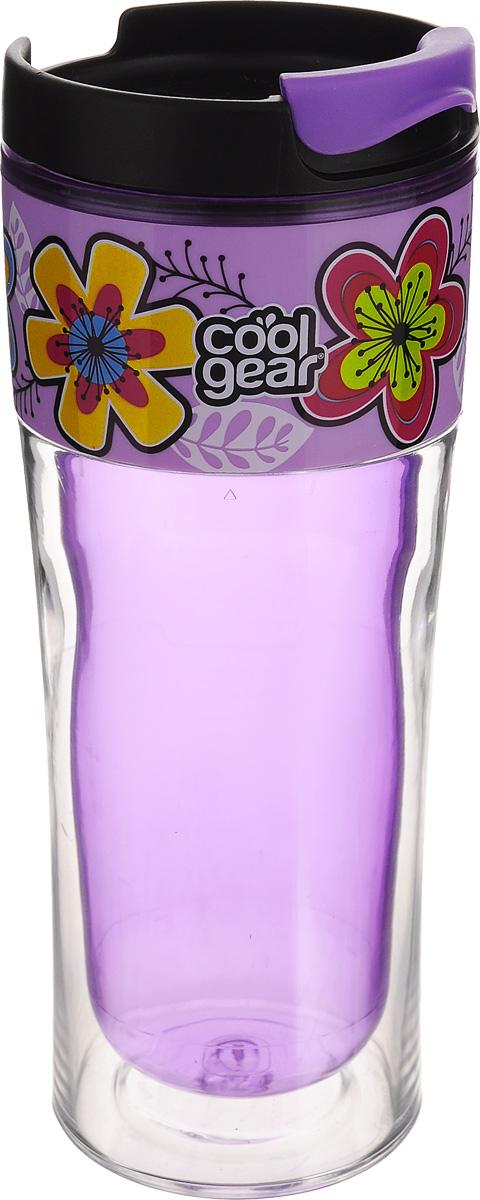 Кружка дорожная Cool Gear Razor. Цветы для горячих напитков, цвет: фиолетовый, черный, 420 мл. 12831283Дорожная кружка Cool Gear Razor. Цветы изготовлена из высококачественного BPA- free пластика, не содержащего токсичных веществ. Двойные стенки дольше сохраняют напиток горячим и не обжигают руки. Надежная закручивающаяся крышка с защитой от проливания обеспечит дополнительную безопасность. Крышка оснащена клапаном для питья. Оптимальный объем позволит взять с собой большую порцию горячего кофе или чая. Идеально подходит для холодных напитков. Оригинальный дизайн, яркие, жизнерадостные цвета и эргономичная форма превращают кружку в стильный и функциональный аксессуар. Кружка идеальна для ежедневного использования. Она станет вашим неотъемлемым спутником в длительных поездках или занятиях зимними видами спорта. Не рекомендуется использовать в микроволновой печи и мыть в посудомоечной машине. Диаметр кружки по верхнему краю: 8 см. Высота кружки (с учетом крышки): 20,5 см.