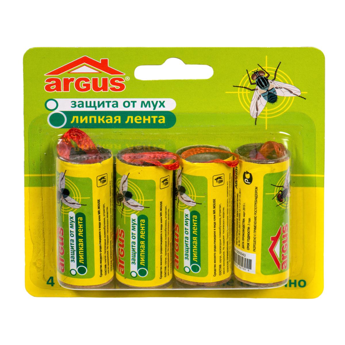 Липкая лента от мух Argus, 4 штСЗ.020005Липкая лента Argus - это удобное и простое в использовании средство, которое надежно защитит вас и вашу семью от мух в закрытом помещении или значительно снизит их количество на открытом воздухе. Специальный аттрактант является привлекательной приманкой для мух, что делает липкие ленты Argus наиболее эффективными. Не содержит веществ, опасных для людей и домашних животных. Для помещения площадью 10 м2 требуется 2-3 липучки. Состав: каучук, производные полиизобутилена, аттрактант, масло минеральное.