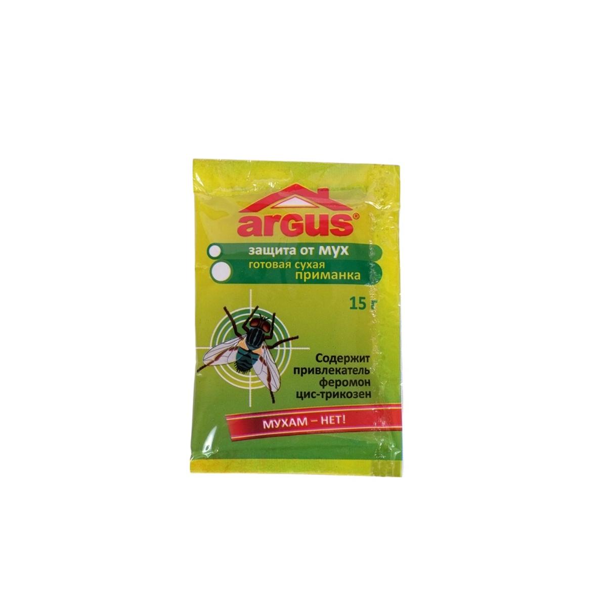 Средство от мух Argus, приманка, 15 гСЗ.020008Приманка Argus предназначена для уничтожения мух. Изделие содержит привлекательный феромон цис-трикозен. Приманка раскладывается на подложки из расчета 6 штук на 10 м2 в местах наибольшего скопления мух. Рекомендуется разместить вблизи источников света. Состав: метомил 1%, половой феромон цис-трикозен 0,25%, битрекс, краситель, сахар.