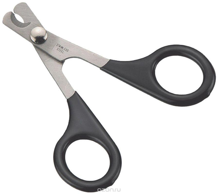 Когтерез-ножницы V.I.Pet, цвет: черный2003_черныйКогтерез-ножницы V.I.Pet с загнутыми лезвиями предназначены для кошек, кроликов и птиц. Ножницы изготовлены из высококачественной нержавеющей стали, что обеспечивает долгий срок службы. Лезвия двойной заточки позволяют точно отрезать, а пластиковое покрытие ручек делает комфортным использование. Инструкция: 1.крепко держите лапу животного во время стрижки. 2.отстригите кончик когтя, при этом не повредите кровеносные сосуды когтя. 3.если коготь длинный, следует подстригать самый кончик когтя, повторяя процедуру каждые 7-10 дней, пока когти не достигнут нужной длины. 4.после стрижки когтей, используйте пилку для окончательной обработки. Длина ножниц: 9 см.