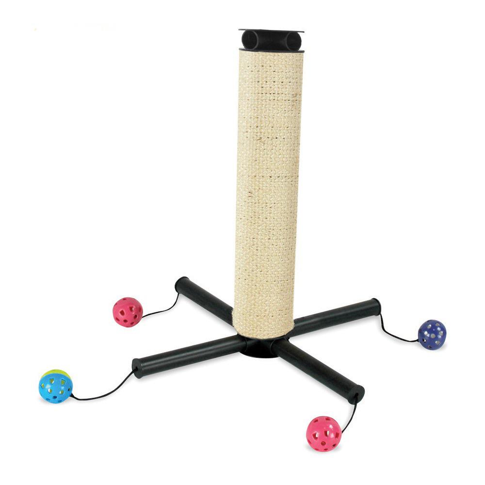 Игровой комплекс для кошек Kitty City Play Zone, 36 х 36 х 39 см23065Игровой комплекс для кошек Kitty City Play Zone обязательно придется по душе вашему питомцу. Изделие представляет собой когтеточку на пластиковых ножках, выполненную из сизаля. К каждой ножке привязана игрушка-шарик с бубенчиком внутри. Когтеточку можно использовать как в горизонтальном, так и в вертикальном положении. Изделие легко собирается и разбирается. Прекрасно подходит для использования изолированно и в совокупности с другими игровыми комплексами Kitty City. Длина когтеточки: 35 см. Диаметр когтеточки: 6,5 см. Диаметр шарика: 5 см. Размер (в собранном вертикальном положении): 36 х 36 х 39 см.
