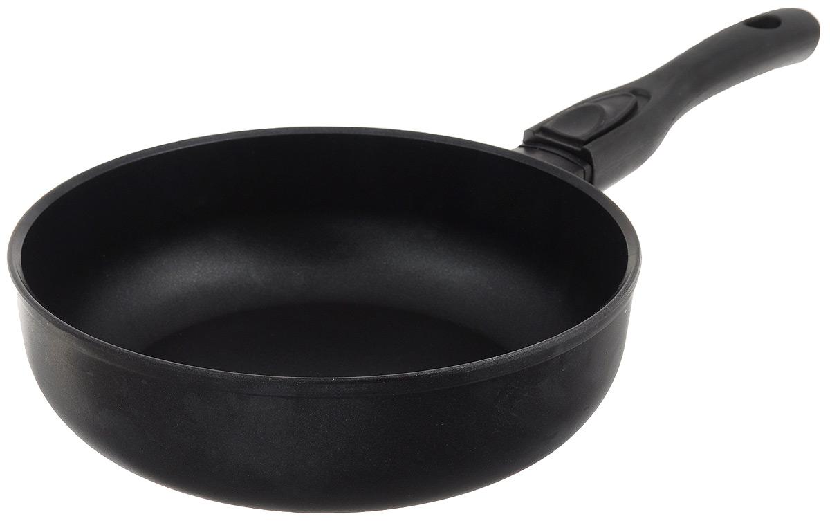 Сковорода Биол, с антипригарным покрытием, со съемной ручкой. Диаметр 24 см. 24091П24091ПСковорода Биол изготовлена из пищевого алюминиевого сплава с антипригарным эко-покрытием. Утолщенное дно такой посуды быстро и равномерно распределяет тепло, дно посуды проточено до зеркального блеска, устойчиво к царапинам. При нагревании не выделяет токсичных веществ. Съемная ручка эргономичной формы выполнена из пластика, снимается одним нажатием. Подходит для газовой, электрической и стеклокерамической плиты. Не подходит для индукционной. Благодаря съемной ручке, может использоваться в духовом шкафу. Можно мыть в посудомоечной машине. Диаметр (по верхнему краю): 24 см. Высота стенки: 7,5 см. Длина ручки: 19 см.