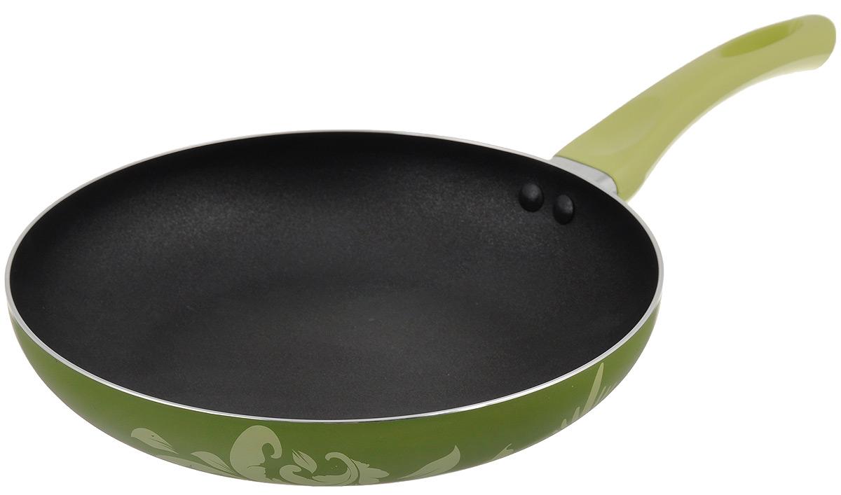 Сковорода Calve, с антипригарным покрытием, цвет: оливковый, фисташковый. Диаметр 24 смCL-1938Сковорода Calve изготовлена из высококачественного алюминия. Двойное антипригарное покрытие обеспечивает быстрый и равномерный нагрев. Кроме того, с таким покрытием пища не пригорает и не прилипает к стенкам, поэтому можно готовить с минимальным добавлением масла и жиров. Комфортная ручка из термостойкого бакелита предотвращает выскальзывание, даже если у вас мокрые руки. Внешнее цветное покрытие очень прочное, обладает высокой термостойкостью. Подходит для использования на газовых плитах, электрических, стеклокерамических, галогеновых плитах. Не подходит для индукционных плит. Можно мыть в посудомоечной машине. Диаметр (по верхнему краю): 24 см. Высота стенки: 4 см. Толщина стенки: 2 мм. Толщина дна: 3 мм. Длина ручки: 17 см.