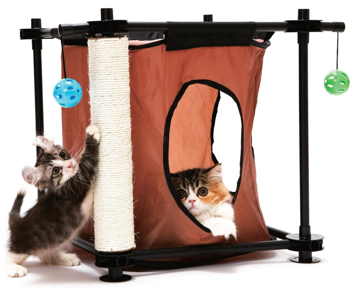 Игровой комплекс для кошек Kitty City Тайное укрытие, 44 х 45 х 45 см23058Игровой комплекс для кошек Kitty City Тайное укрытие прекрасно подойдет для животного, которое длительное время остается одно дома. Обеспечивая уютное место для сна и отдыха, комплекс является отличной игровой площадкой для развлечения скучающего животного. Комплекс изготовлен из высокопрочных, устойчивых к повреждениям материалов. Пластиковый каркас удобно собирается и разбирается, облегчая транспортировку и хранение. На каркас натянут пропускающий воздух текстиль с двумя отверстиями для входа. Когтеточка из высокопрочного сизаля на длительное время отвлечет вашу кошку от мягкой мебели и обоев в доме, а подвесные игрушки развлекут питомца. Конструкция комплекса позволяет увеличить количество подвесных игрушек. Комплекс прекрасно помещается в угол, что позволит сэкономить пространство вашего дома. Подходит для использования изолированно и в совокупности с другими игровыми комплексами Kitty City.