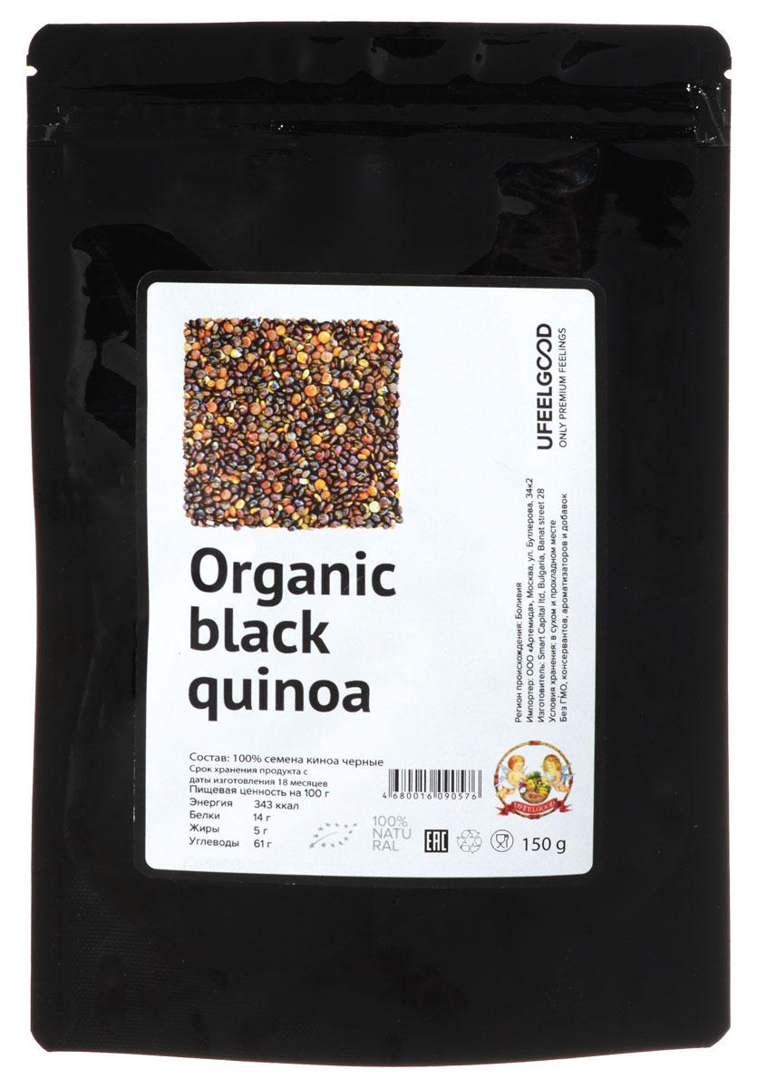 UFEELGOOD Organic Black Quinoa органические семена киноа черные, 150 г25Киноа имеет мягкий, слегка ореховый привкус - прекрасная альтернатива рису или кус - кусу. Органическая киноа UFEELGOOD выросла свободной от любых пестицидов и химических веществ. Киноа, мать зерна, — это очень питательные семена. Они богаты белком, который содержит все девять незаменимых аминокислот. Лебеда культивируется уже около 6000 лет! Киноа легко усваивается, и, естественно, не содержит глютен. Это также хороший источник пищевых волокон, фосфора, магния и железа. Вы можете добавить киноа в блюда с овощами, соусы, суфле или запеканки. Ваши любимые блюда могут стать еще более привлекательней и полезней. Красивая текстура и цвет прибавляет блюду привлекательности. Также вы можете сделать киноа - муку путем измельчения семян.