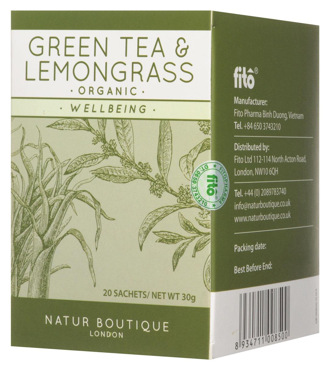 Natur Boutique Lemongrass&Green Tea Organic Tea органический зеленый чай с лемонграссом, 20 пакетиков259Зеленый чай Natur Boutique Lemongrass&Green Tea Organic Tea помогает похудеть за счет ускорения обмена веществ, регулирования уровня глюкозы, снижения аппетита и улучшения сжигания жиров. Лемонграсс, или по-другому лимонная трава, снимает нервное напряжение, успокаивает, улучшает пищеварение, стимулирует обмен веществ, а также оказывает антибактериальное и противогрибковое действие.